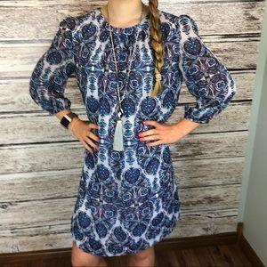 Eva Mendes blue & white dress medium